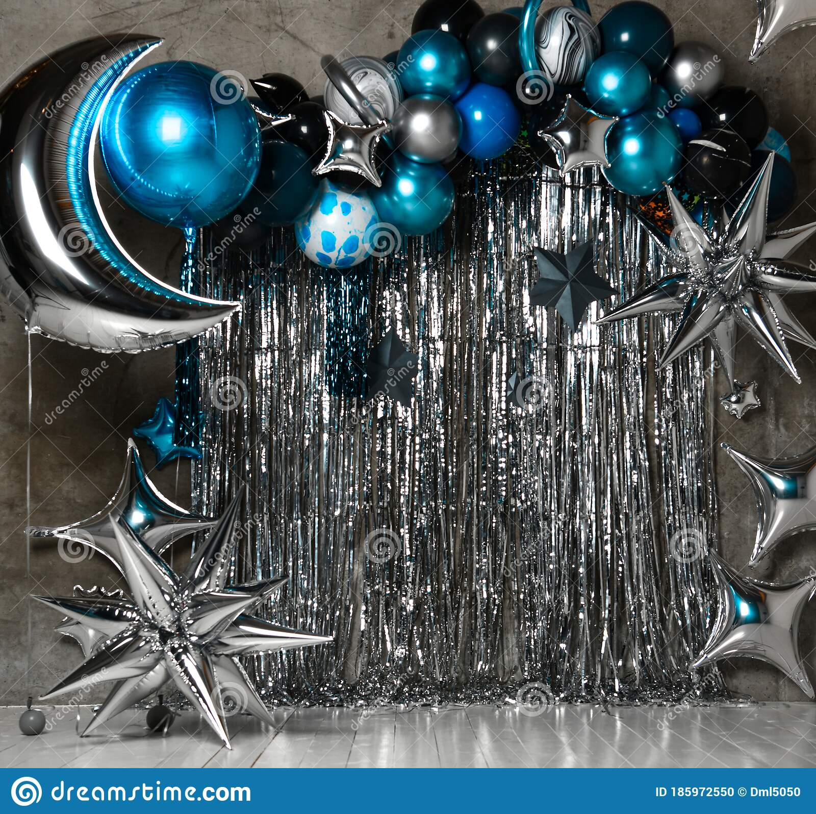 Space Photo Zone With Blue And Silver Stars Ballons Large For Birthday Decor Holiday Decoration Balloons Stock Photo Image Of Bright Decorative 185972550