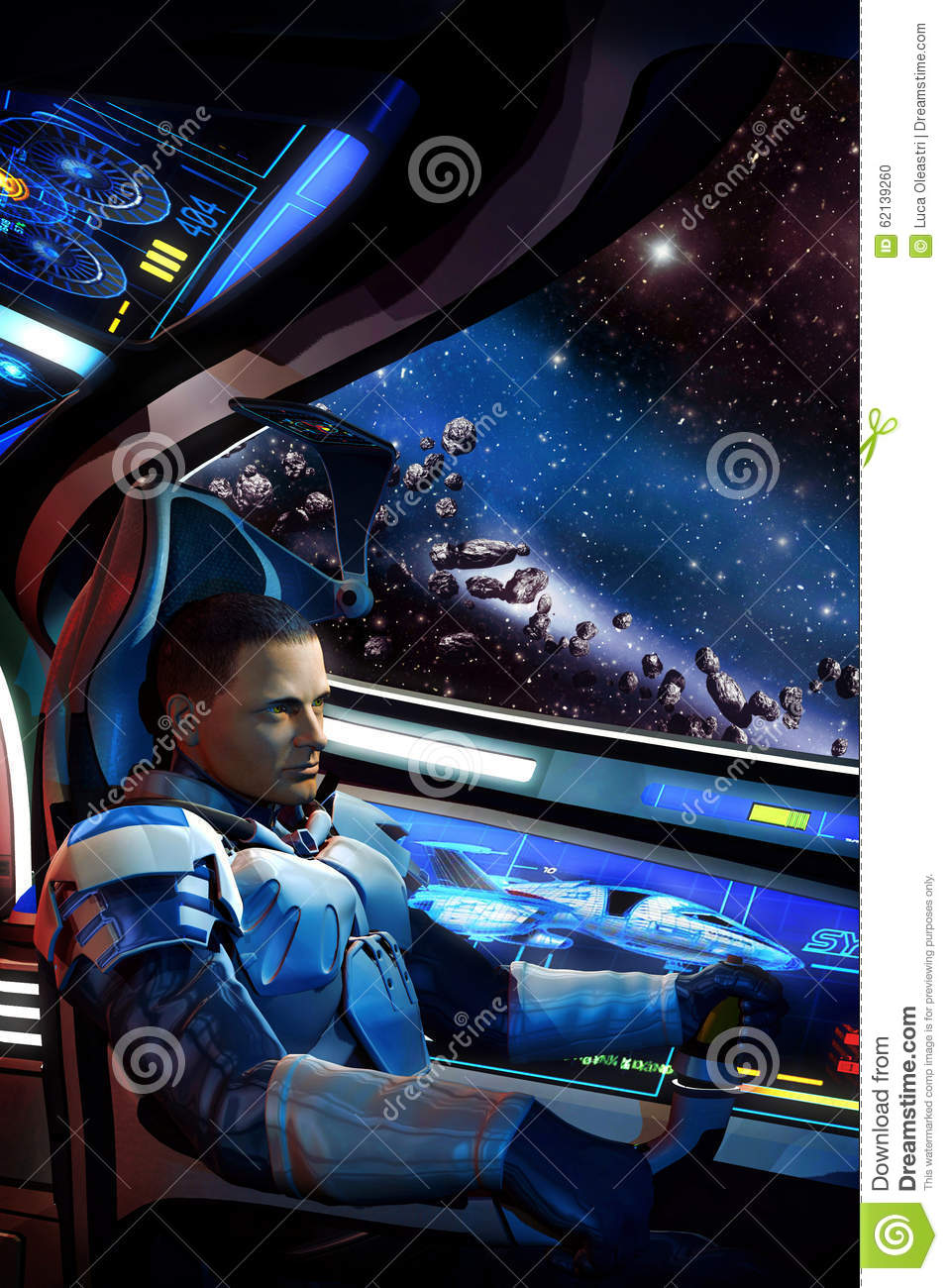 Space Pilot Spaceship And Asteroid Field Stock
