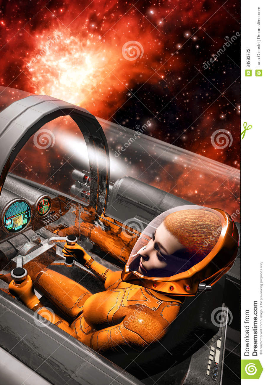 Space pilot woman inside spaceship cockpit