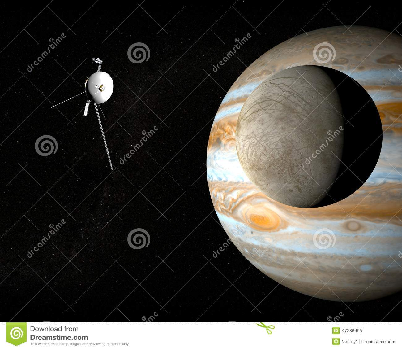 Space Probe Voyager And Jupiter's Moon Europa Stock ...