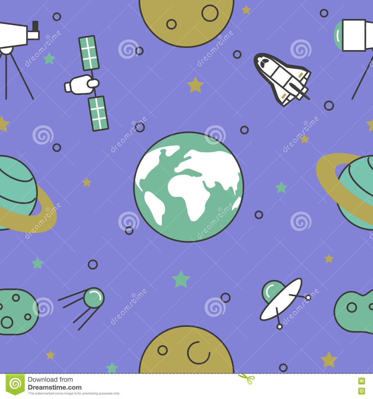Space Research Line Art Thin Seamless Pattern Background with Shuttle and Planets