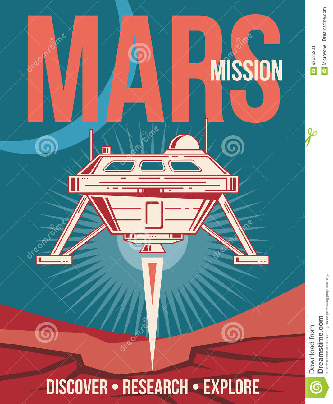 Space research vector poster. Spaceship landing to Mars vintage background