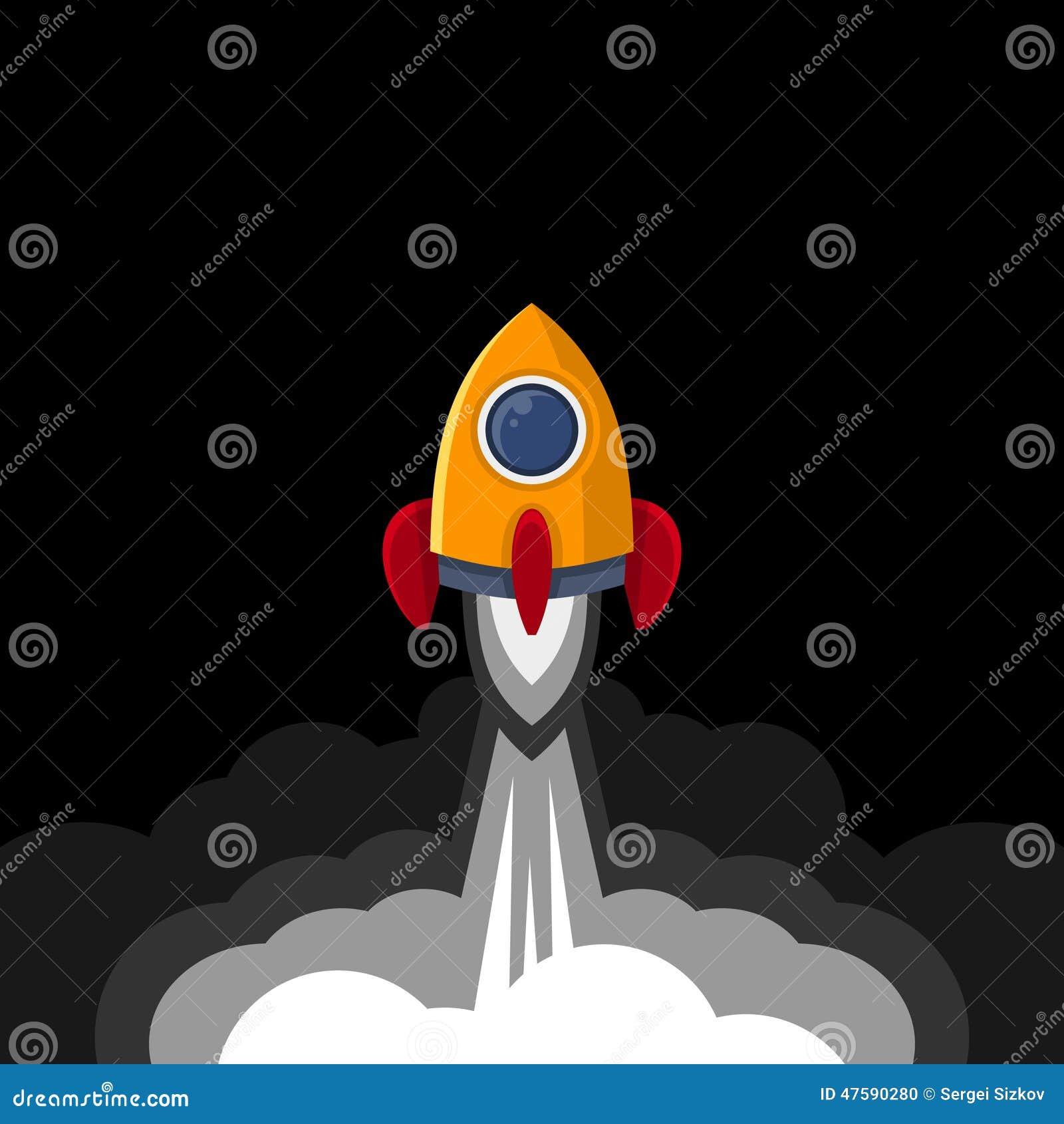 Space Rocket On Black Sky Background. Vector Stock Vector ...