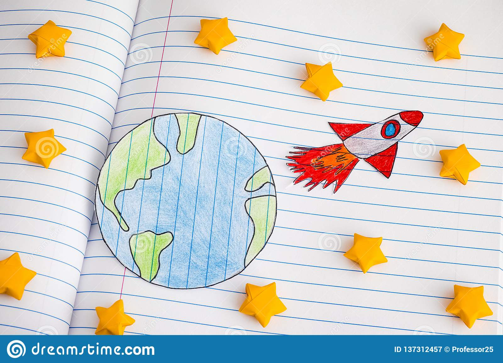 Space Rocket Blasting Off For New Ideas Through Yellow Origami Stars