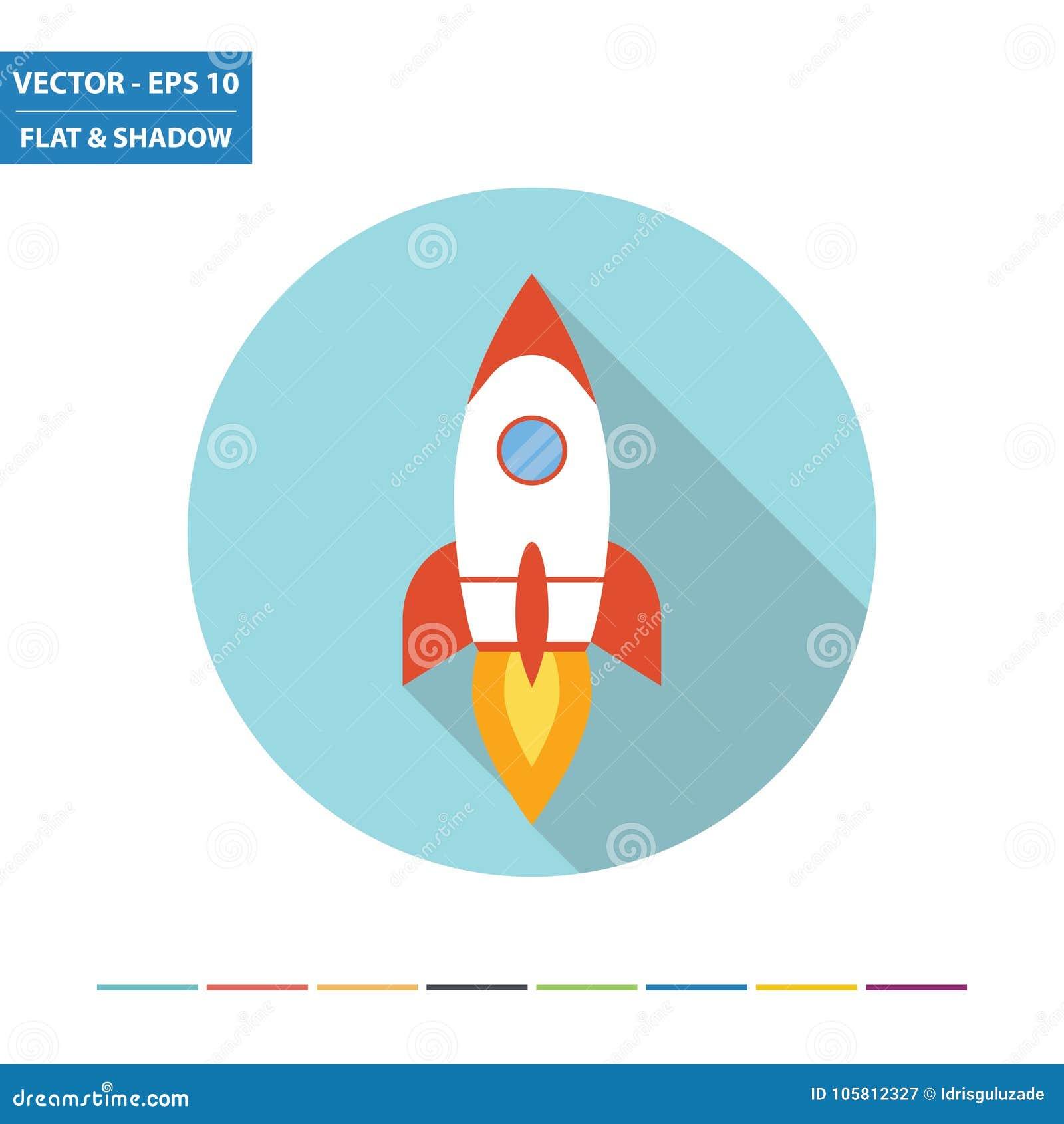 Space rocket flat icon