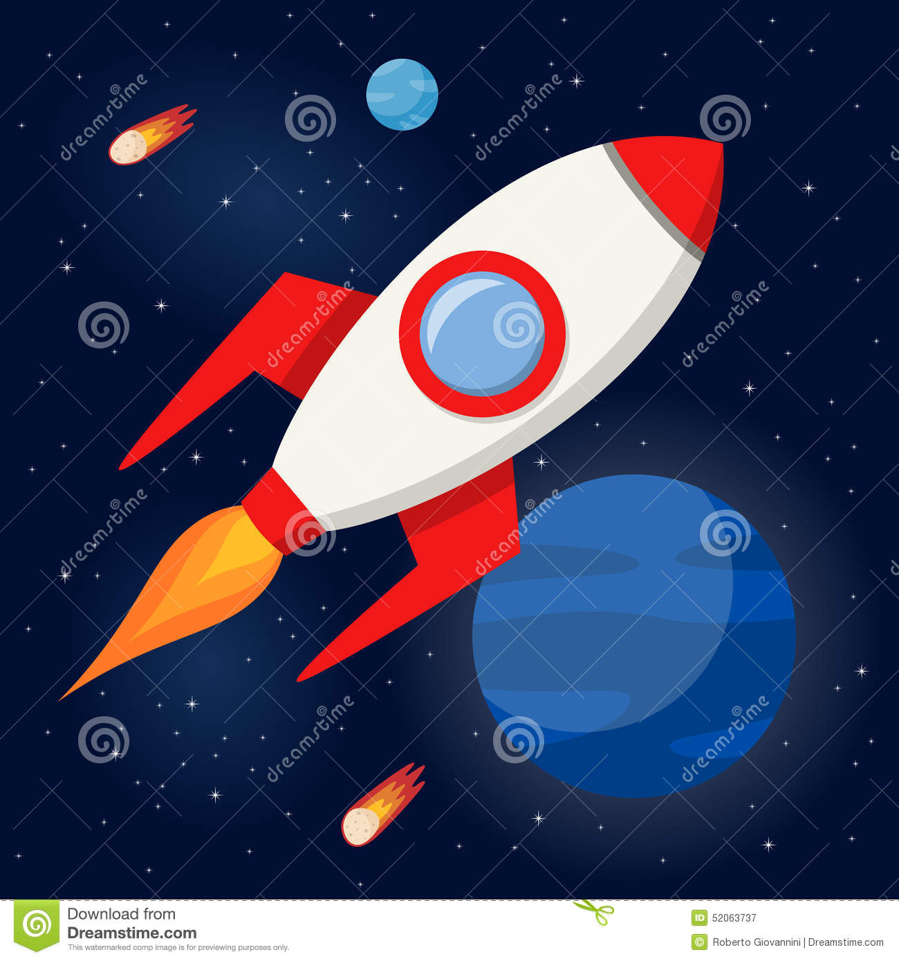 space rocket flying in the outer space stock vector image 52063737