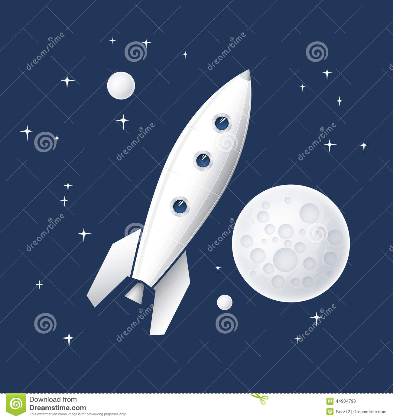 Vector illustration of a space rocket flying into space for Flying spaces