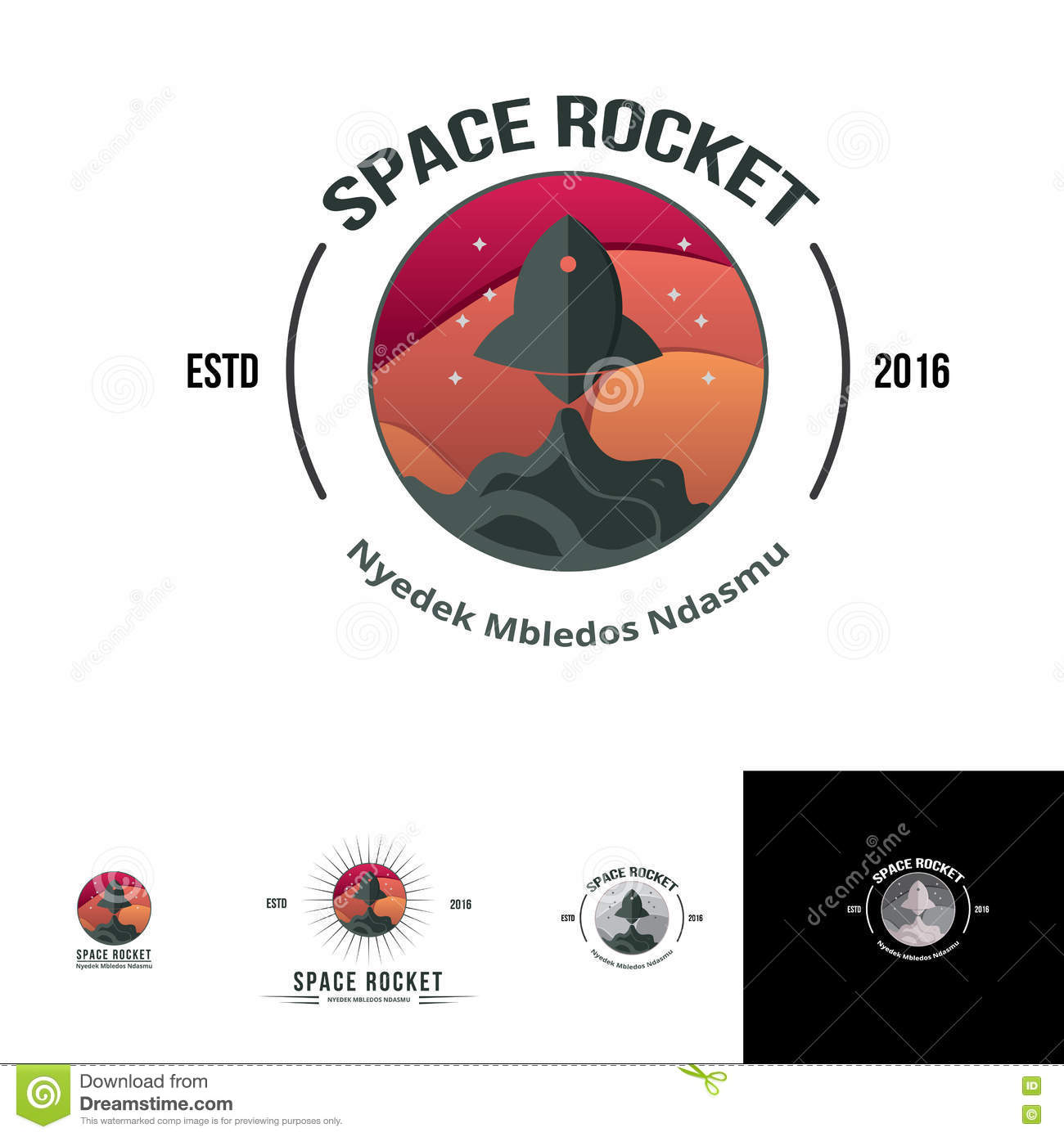 space rocket launch logo template stock vector illustration of