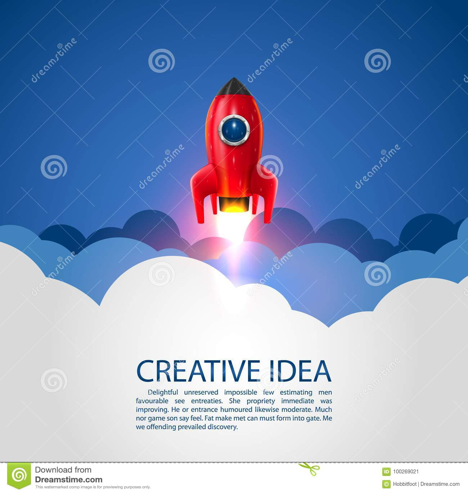 Space rocket launch, Startup creative idea.