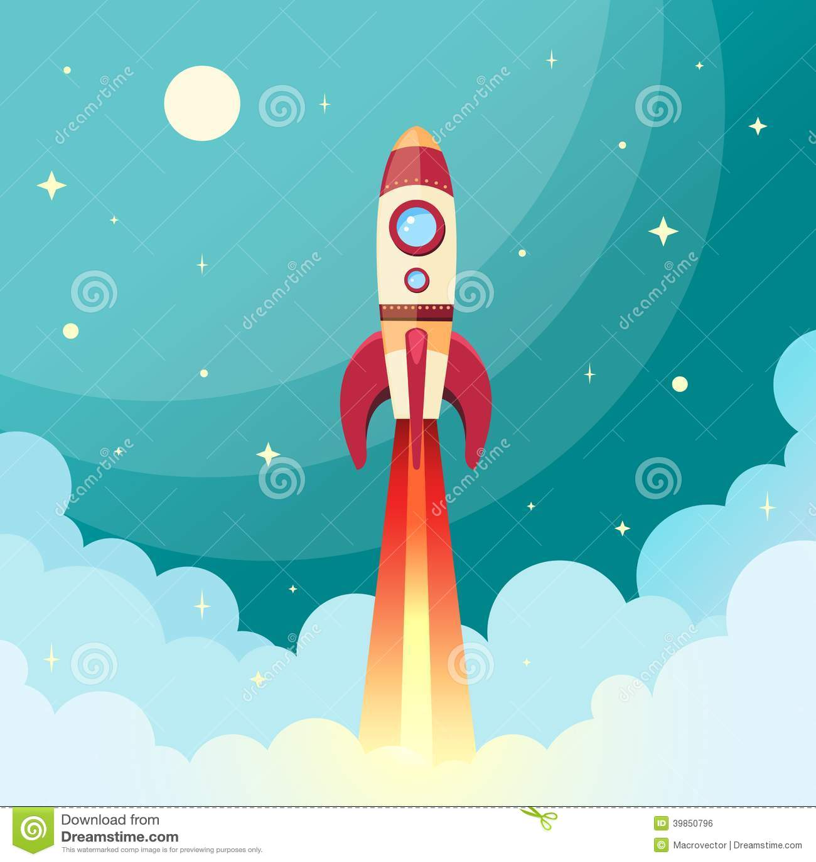 Space Rocket Print Stock Vector Image 39850796