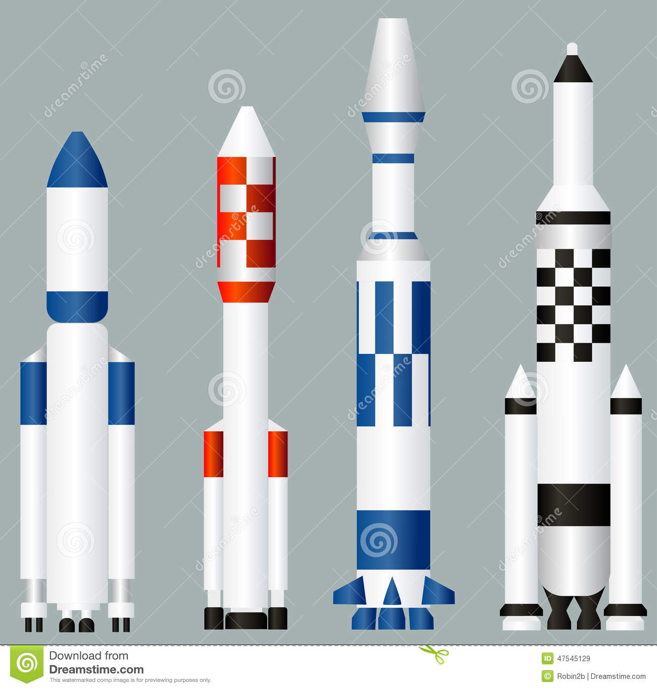 space rockets stock vector image 47545129
