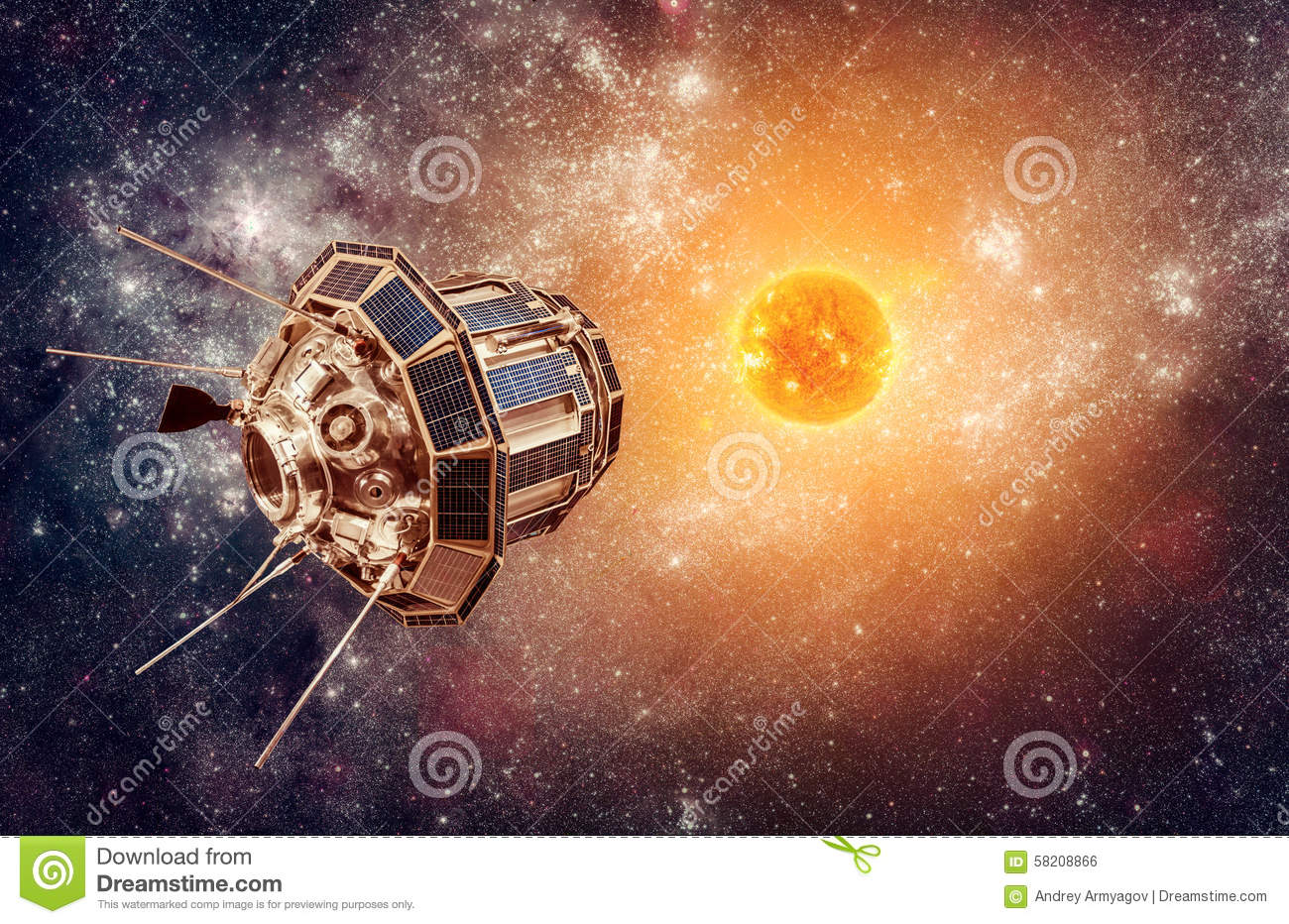 Space satellite on a background star sun