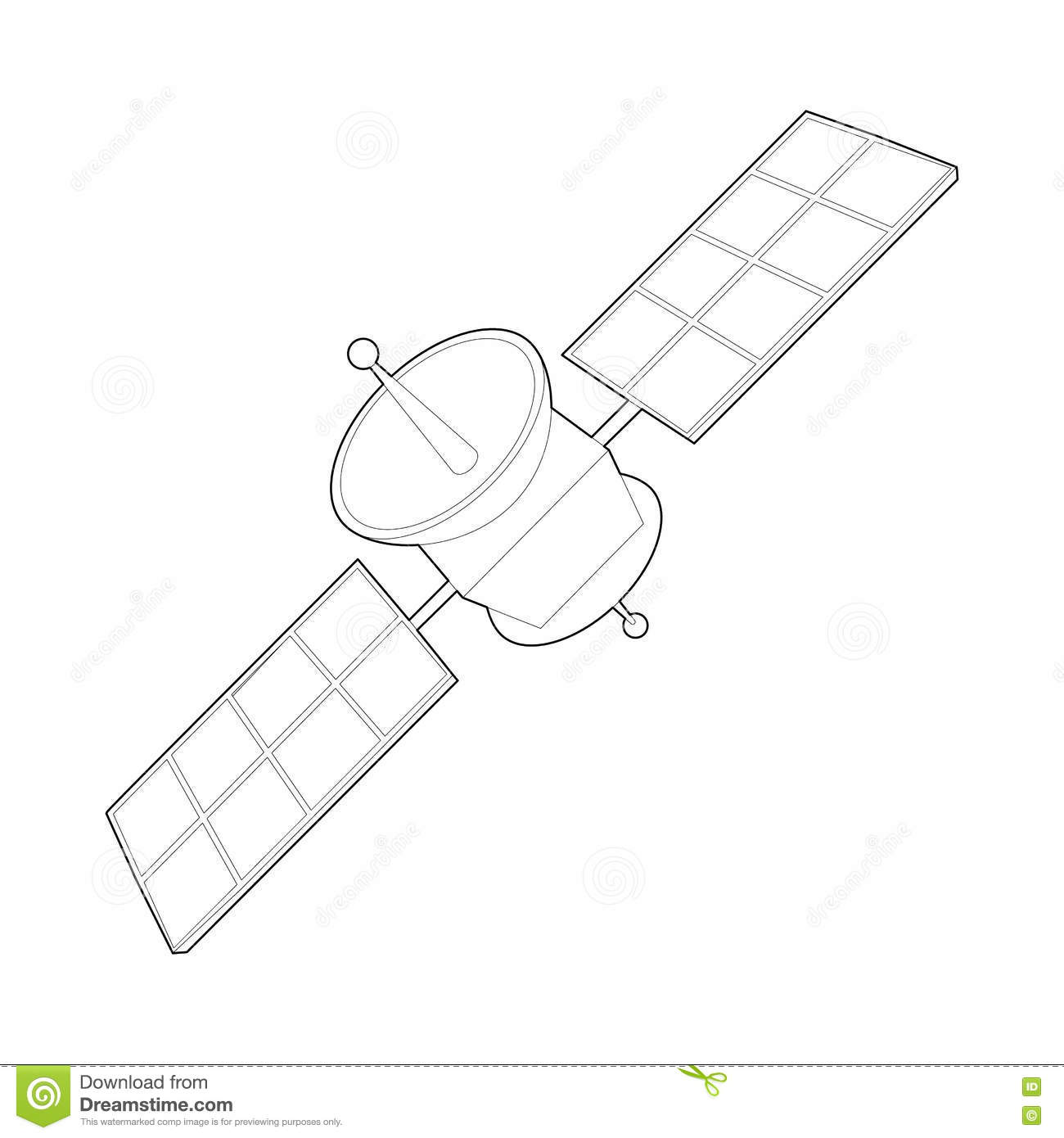 space satellite icon  outline style stock vector