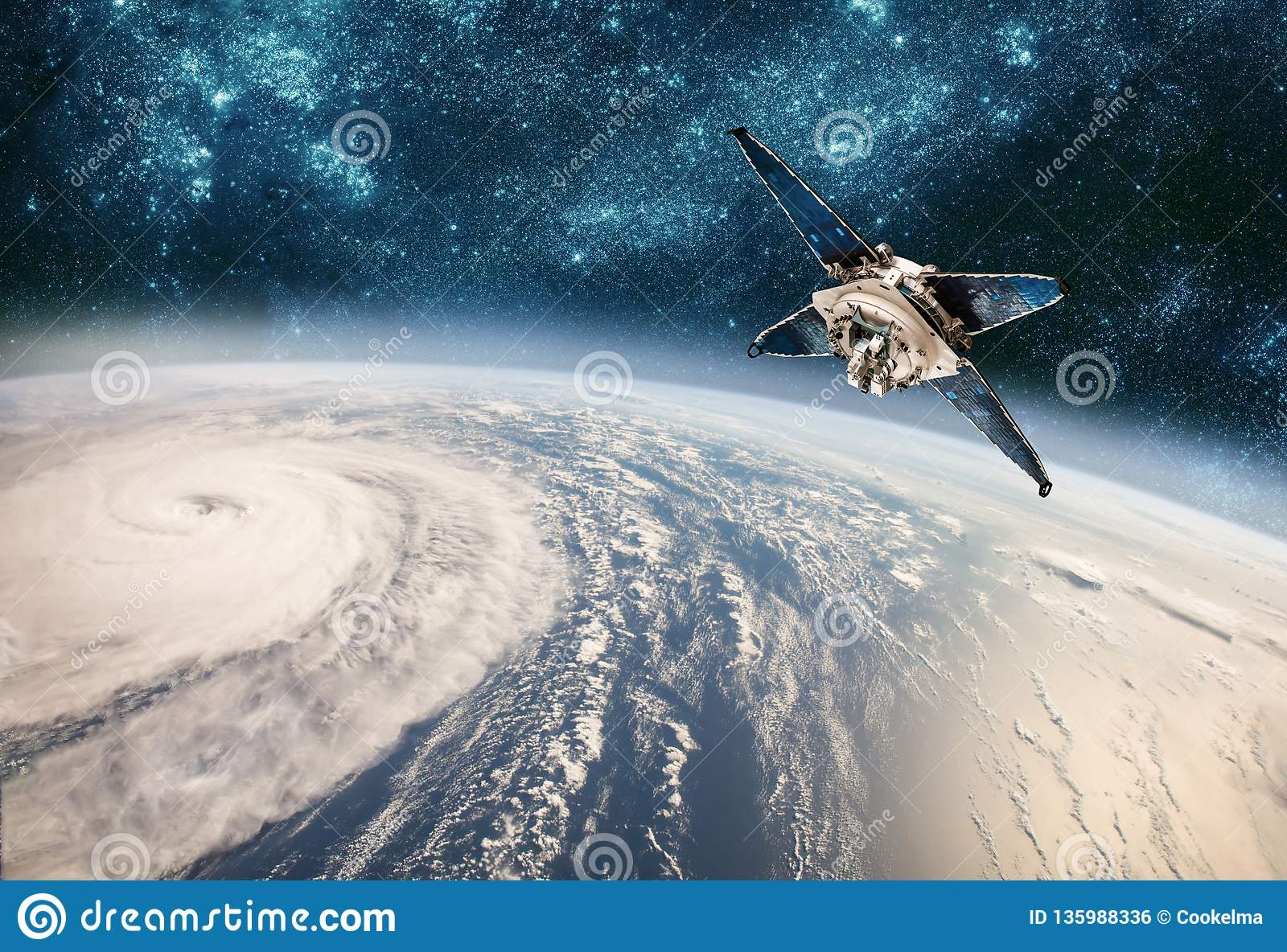 Space satellite monitoring from earth orbit weather from space, hurricane, Typhoon on planet earth