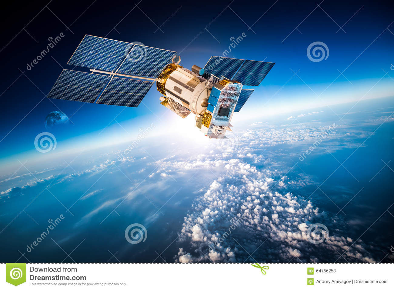 Space satellite over the planet earth