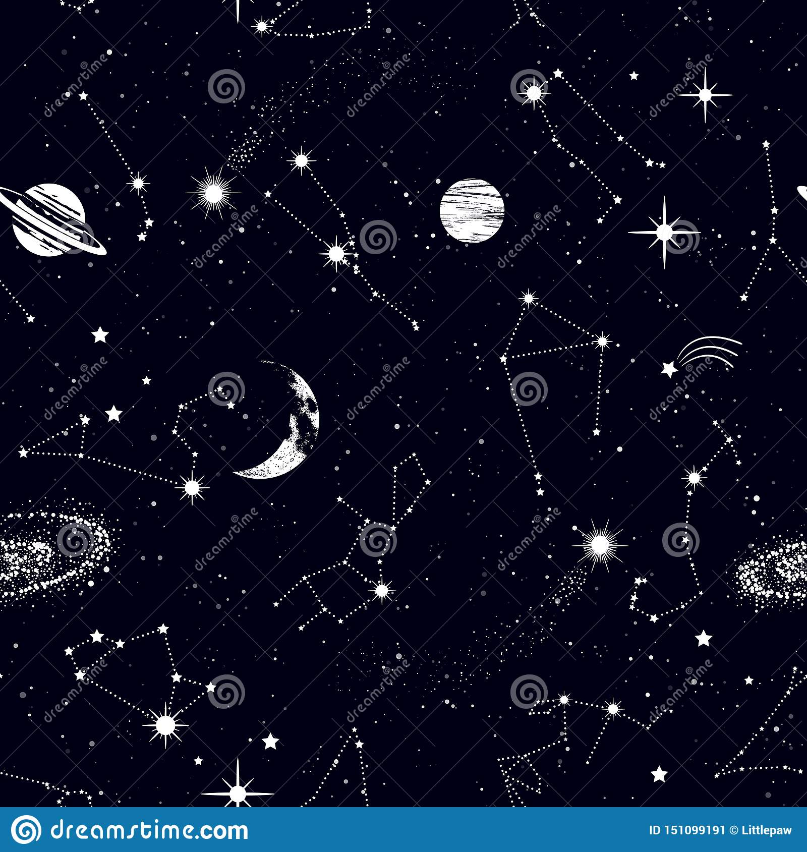 Space Seamless Pattern With Zodiac Constellations Galaxy Stars