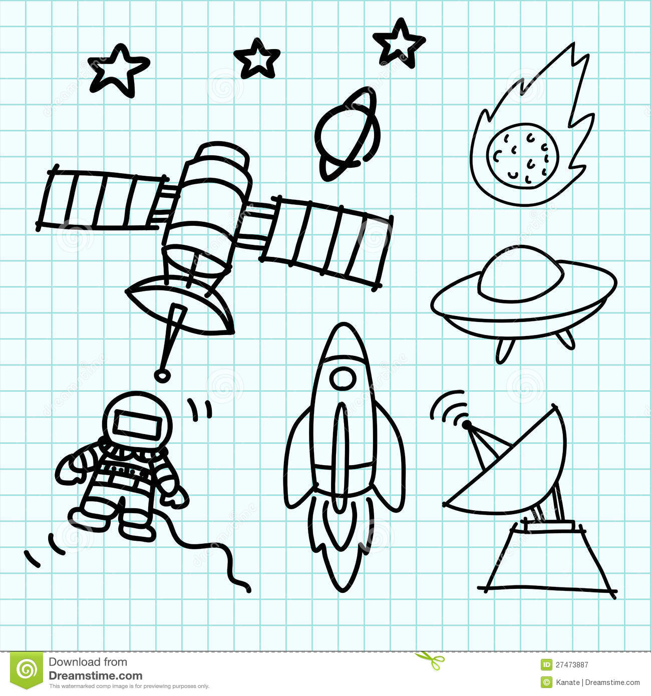 space set hand draw on graph paper  stock vector