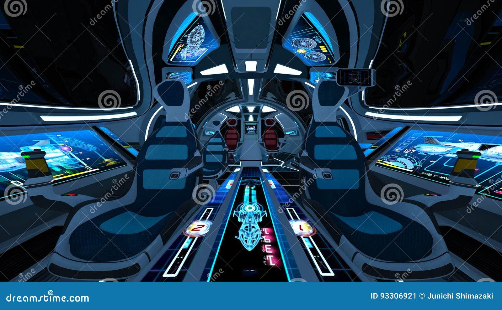 Space ship cockpit stock illustration  Illustration of computer