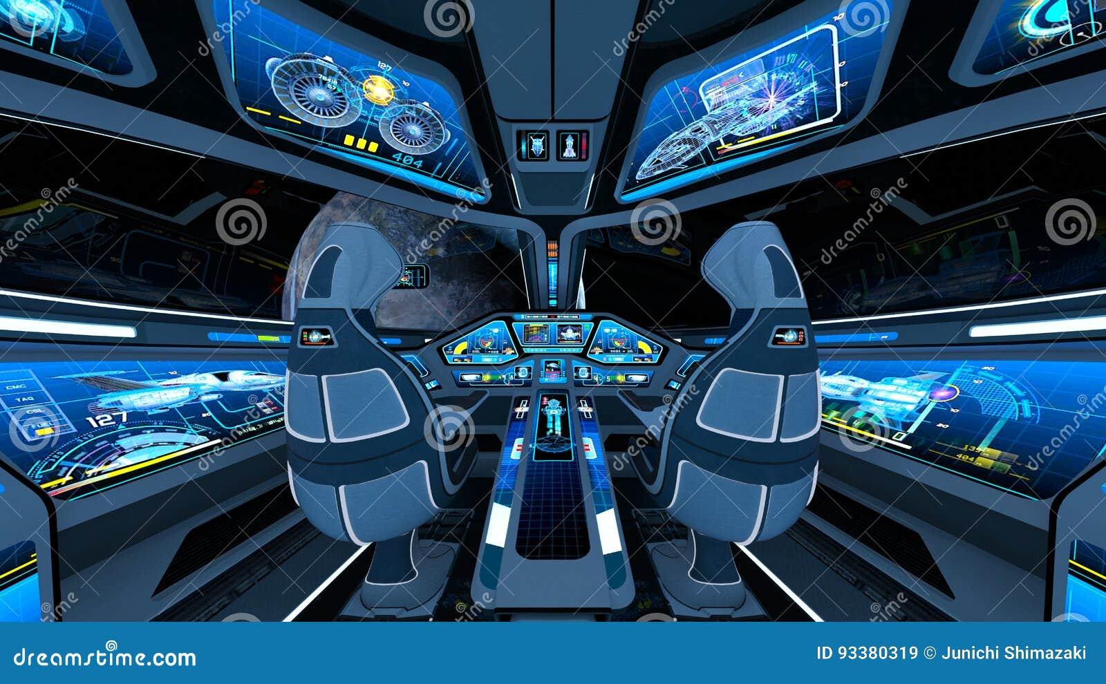 Space ship cockpit stock illustration  Illustration of high - 93380319