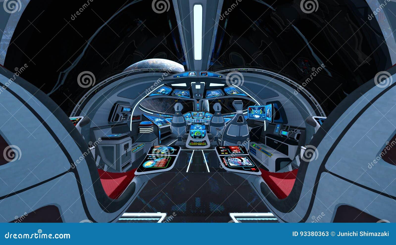 Space ship cockpit stock illustration  Illustration of technology