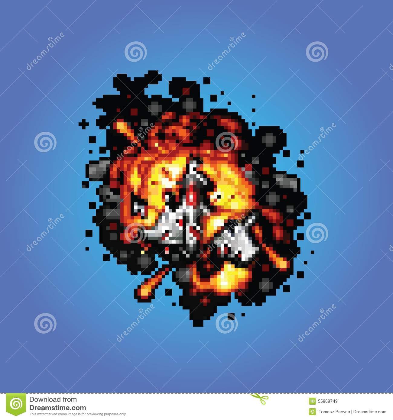 Space Ship On Fire Pixel Art Style Illustration Stock Vector