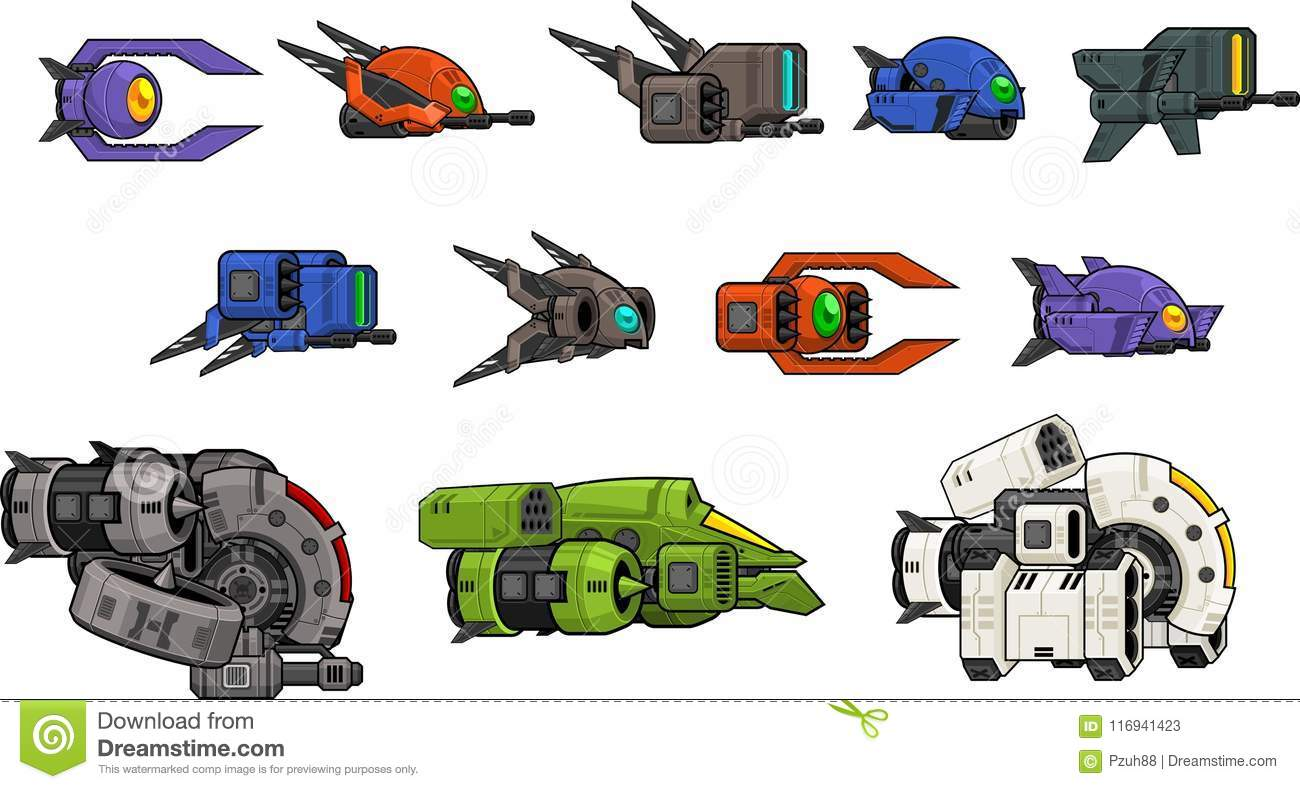 Space Shooter Game Assets Pack Stock Vector - Illustration