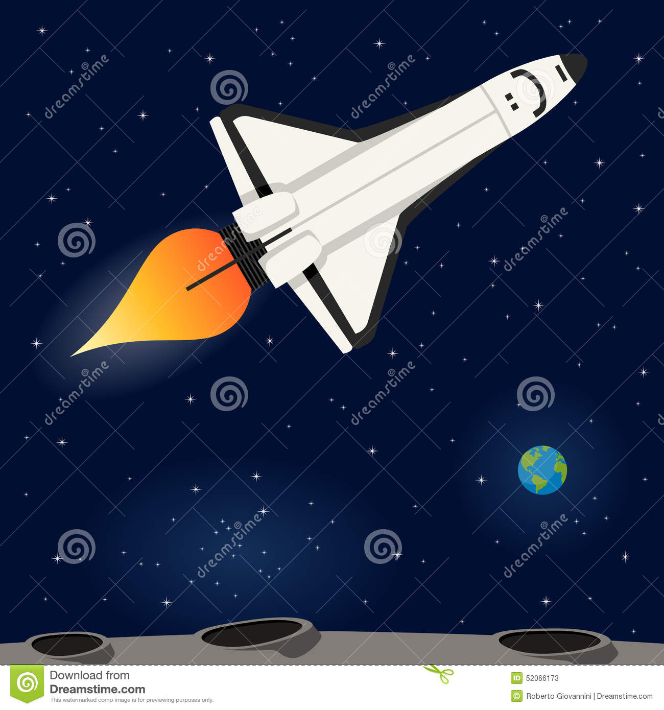 Space shuttle flying in the outer space stock vector for Flying spaces
