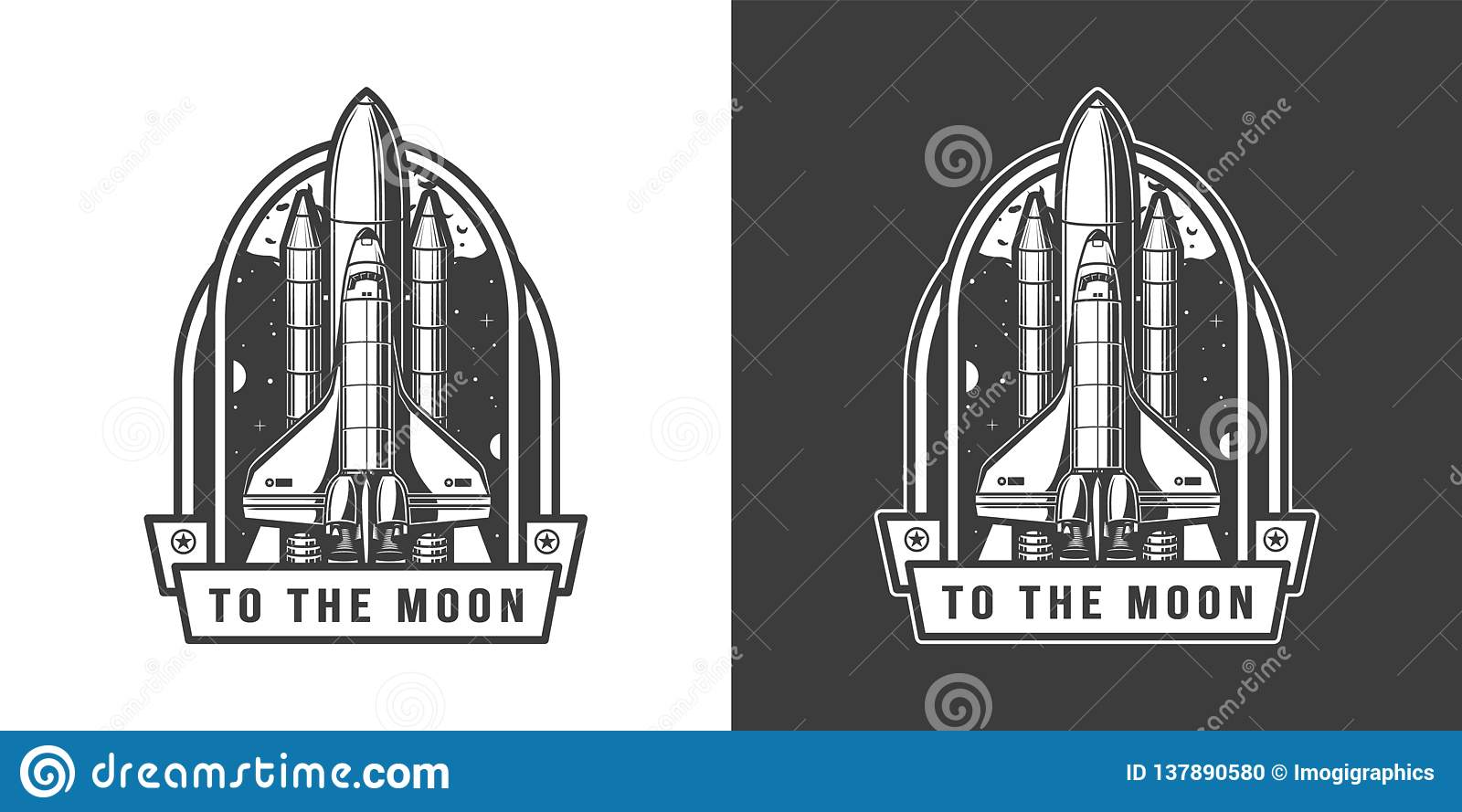 Space shuttle flying to moon emblem
