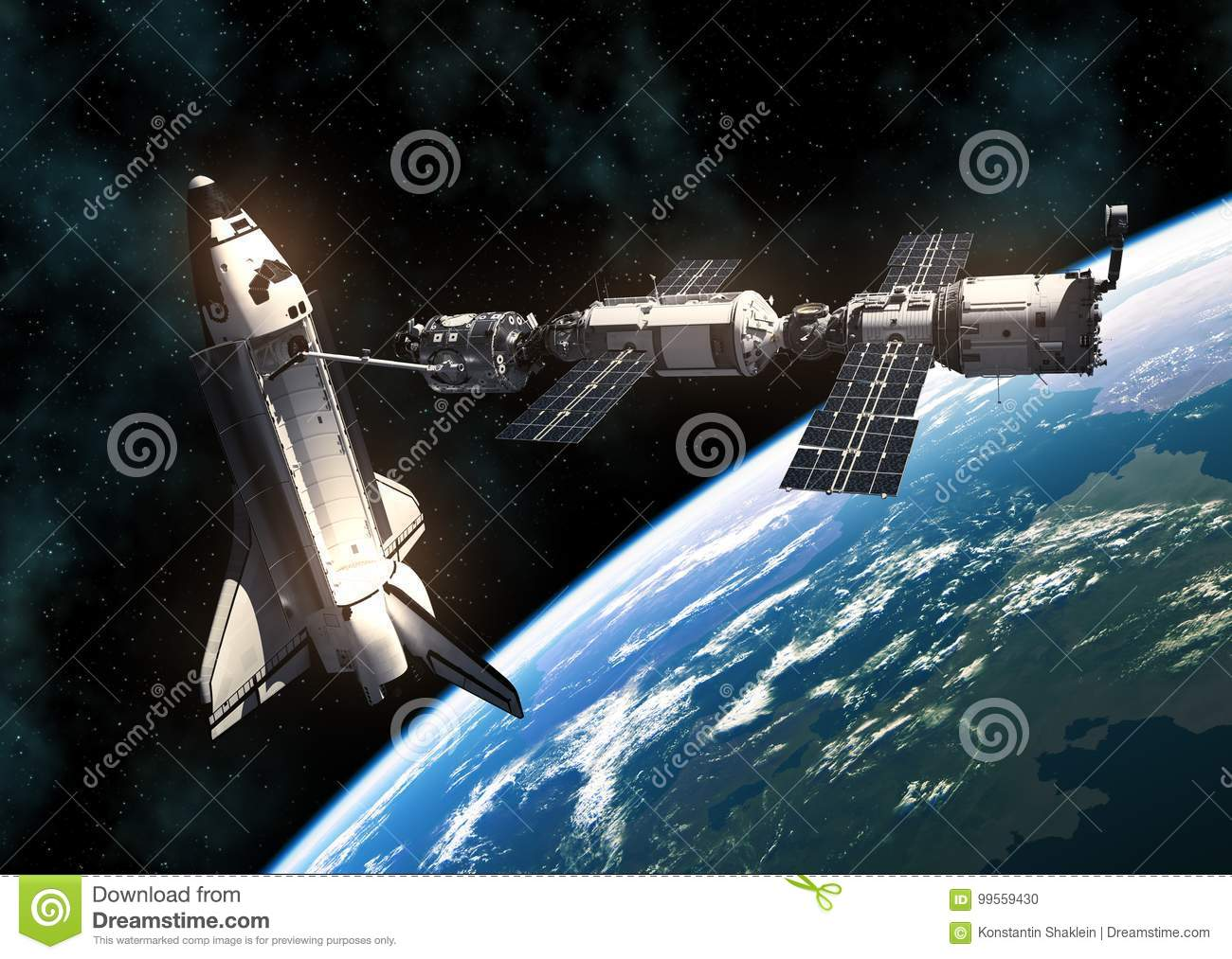Space Shuttle And International Space Station On Background Of Planet Earth