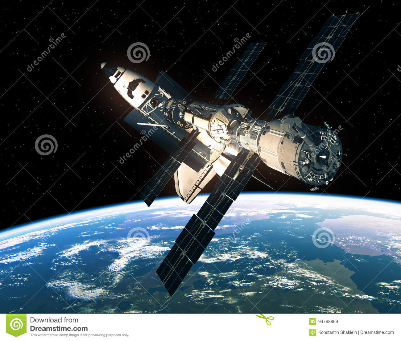 Space Shuttle And International Space Station In Space