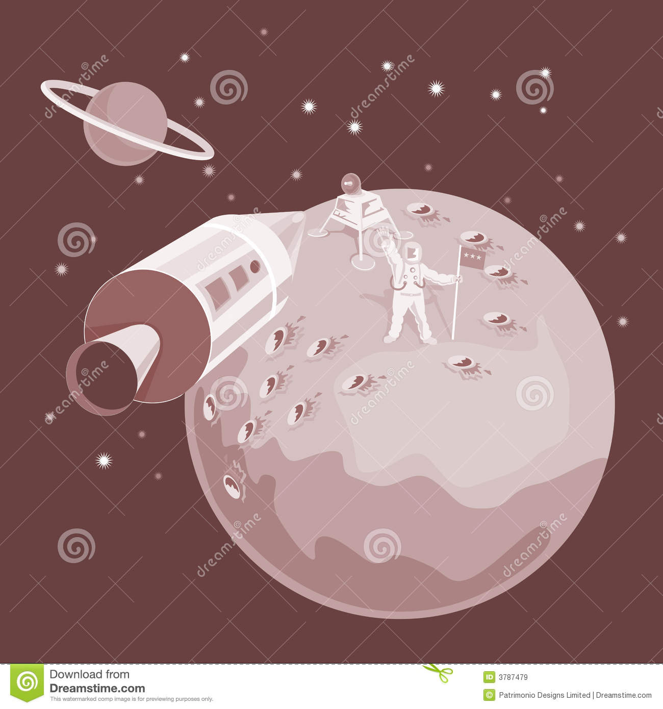 Space Shuttle Landing On Moon Stock Vector - Image: 3787479
