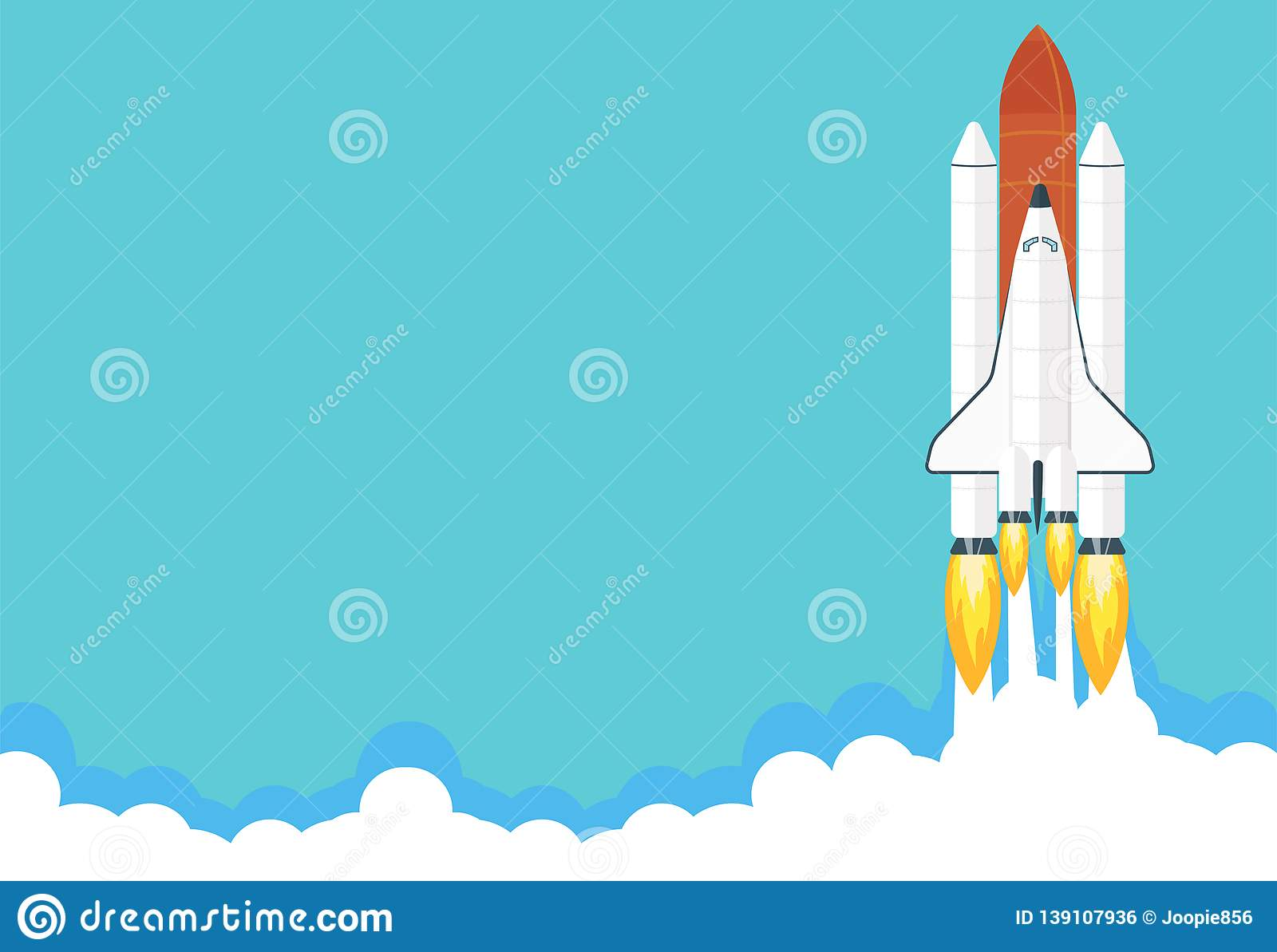 Space shuttle launch illustration. Business or project startup banner concept. Flat style vector illustration