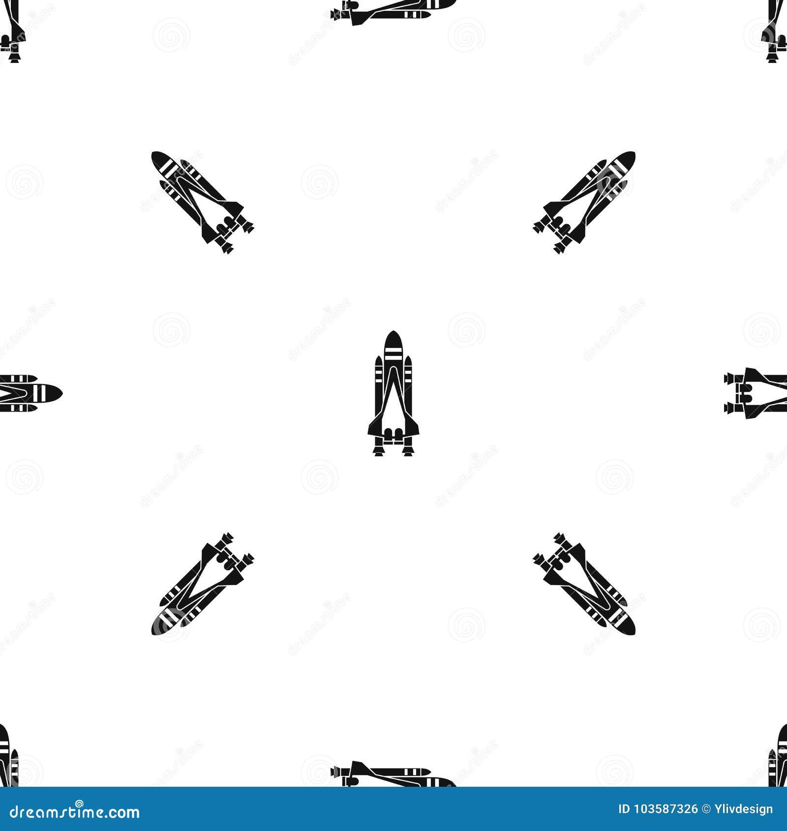 Space shuttle pattern seamless black
