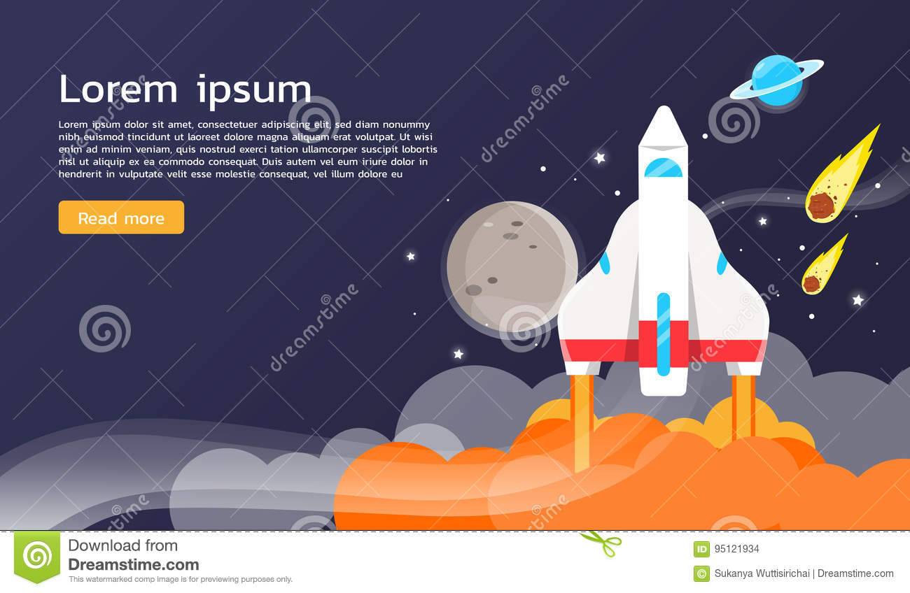 Space shuttle and planets illustration and graphic design