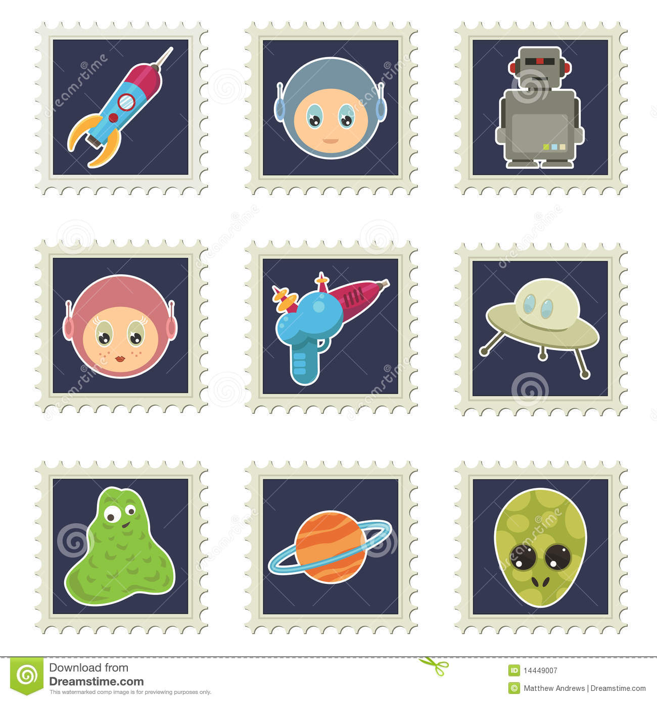 Download Space stamps stock vector. Illustration of rocket, space - 14449007
