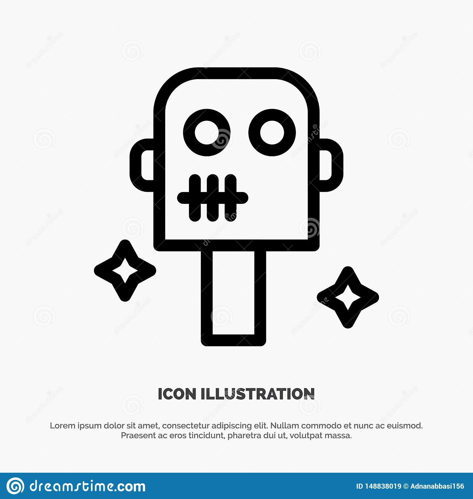 Space, Suit, Robot Line Icon Vector Stock Vector