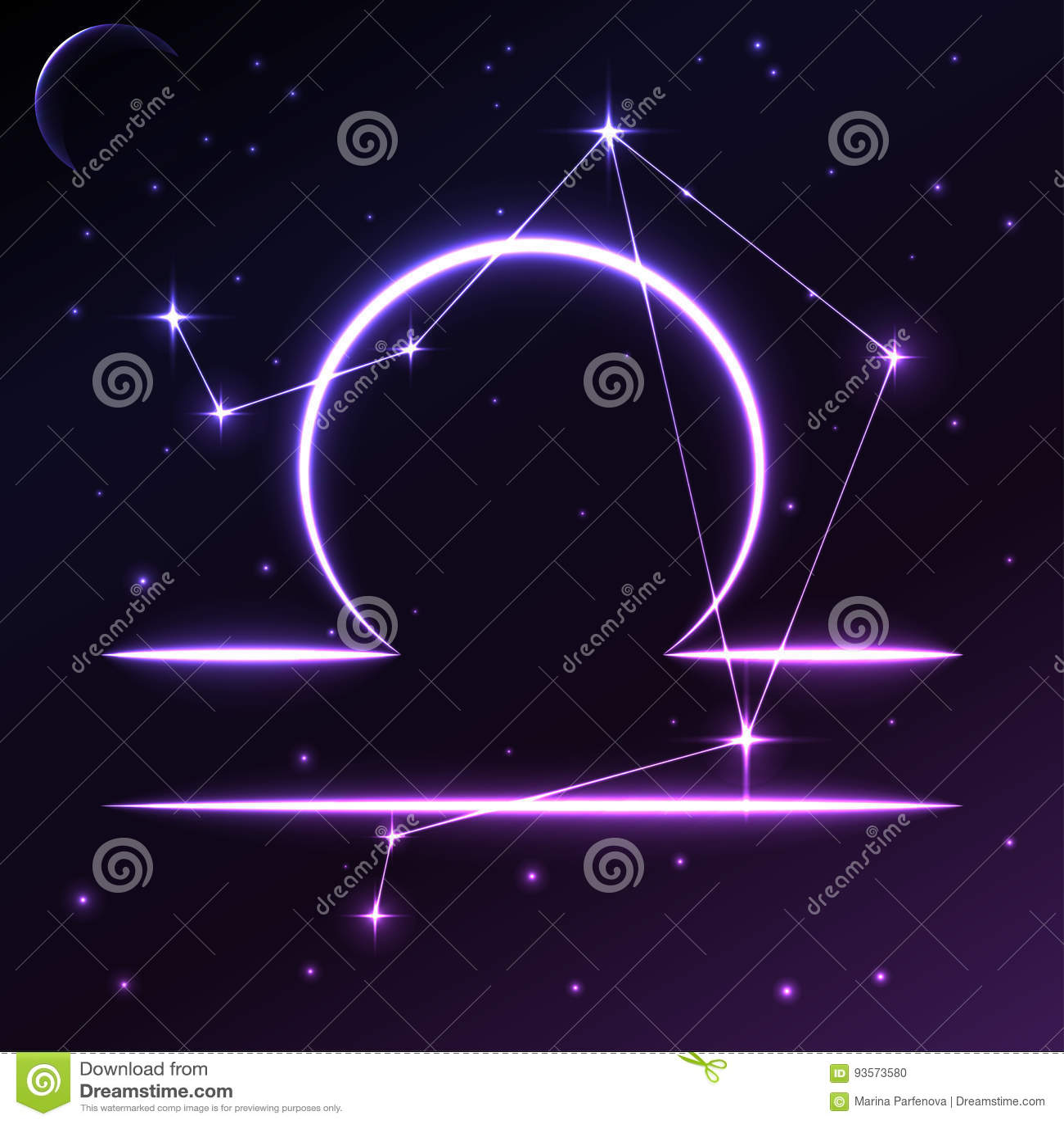 Space Symbol Of Libra Of Zodiac And Horoscope Concept Vector Art