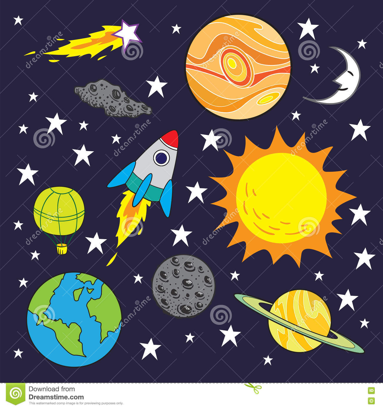 Kids Room Decoration Space Theme Vector Illustration: Space Theme Cartoon Background Stock Vector