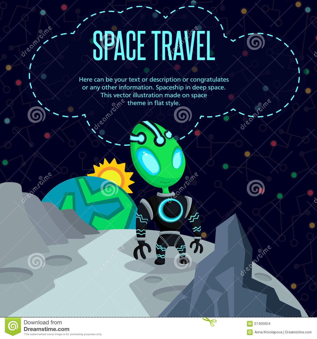 Space travel vector illustration in style flat stock for Outer space travel