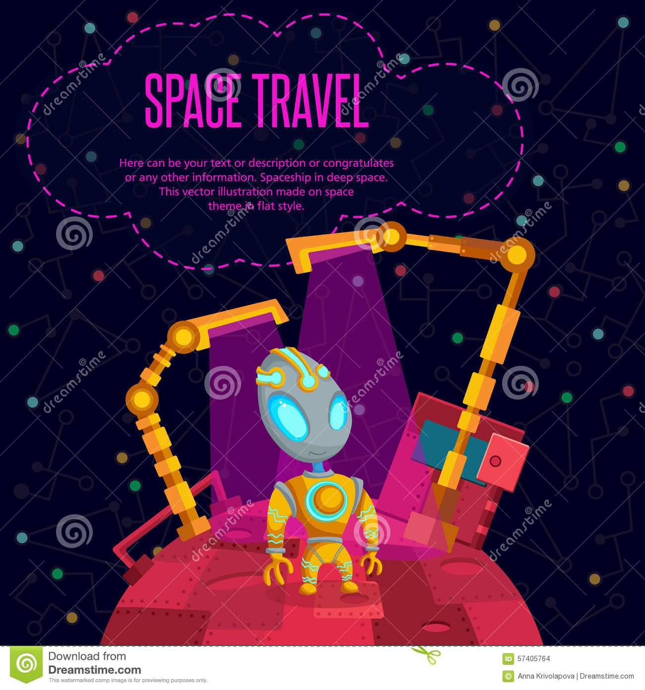 Space travel vector illustration in style flat for Outer space travel