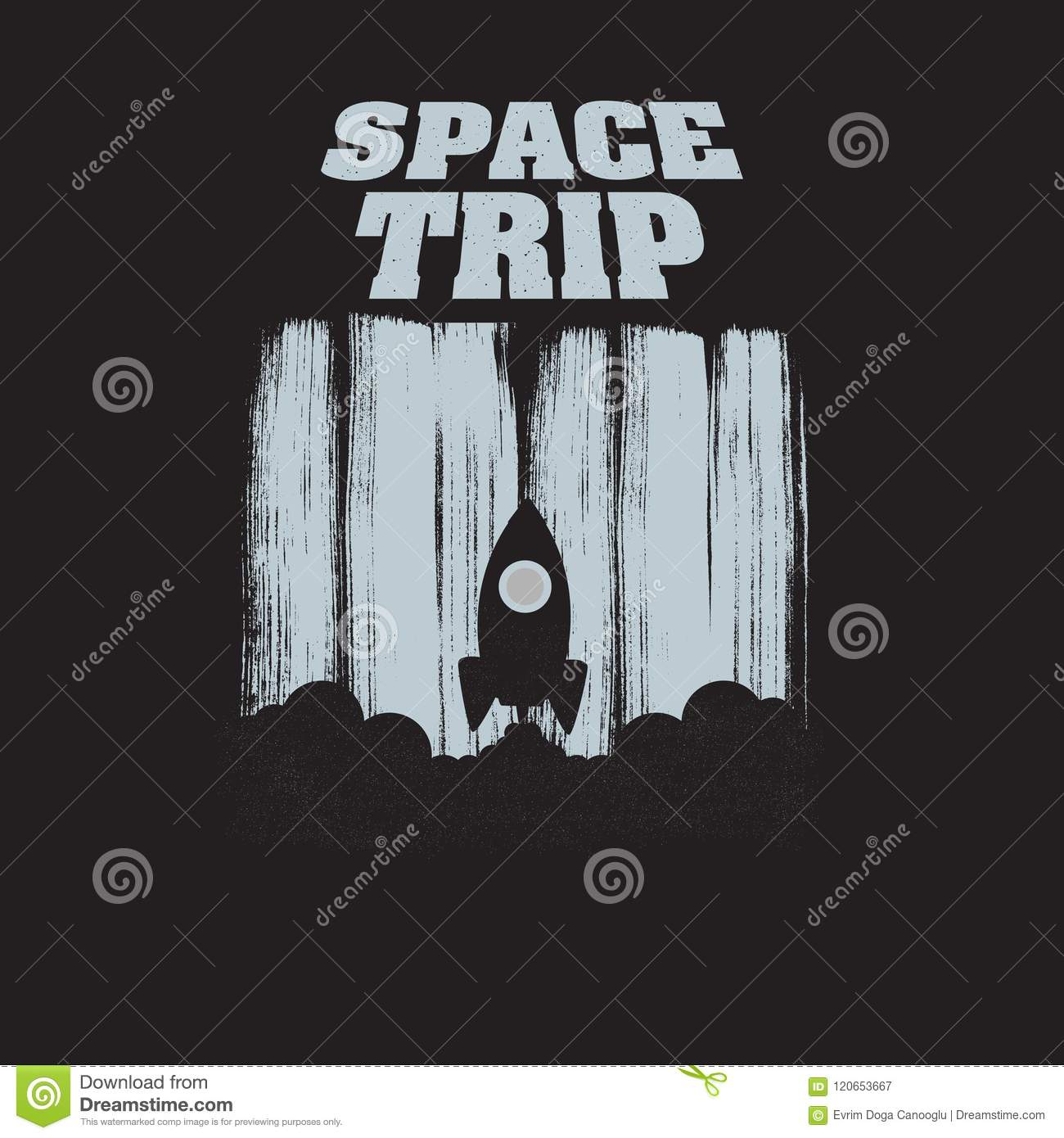 Space Trip vintage t-shirt typography. Vector illustration. EPS 10