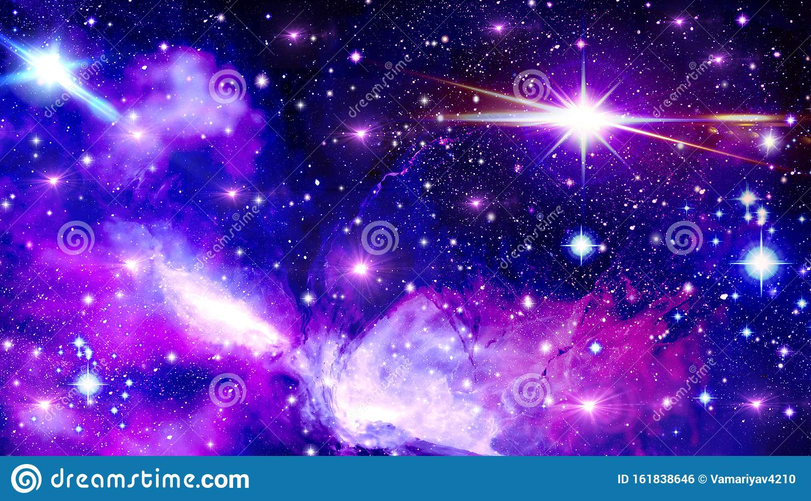 Space Universe Fantasy Scattering Of Stars Bright Blue Purple Pink Black Sky Bright Star Flash Many Stars Stock Illustration Illustration Of Stars Purple 161838646