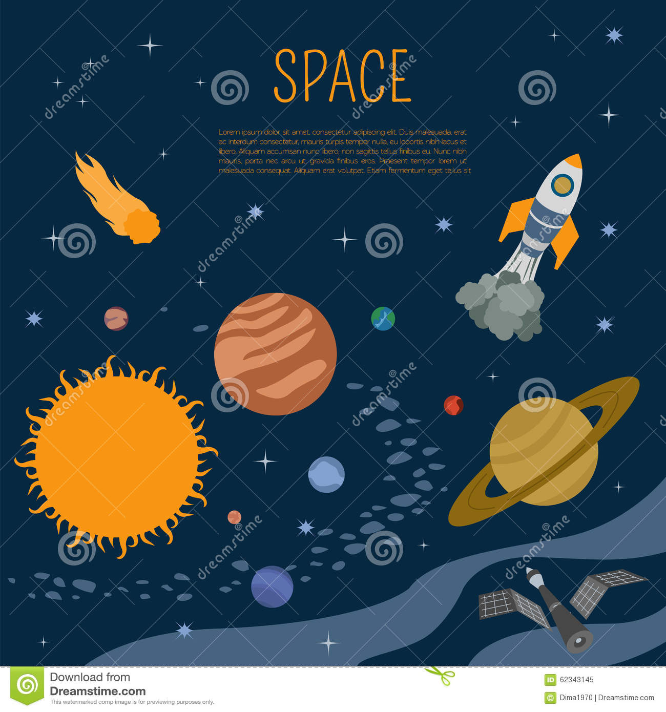 Space universe graphic design infographic template stock for Space poster design