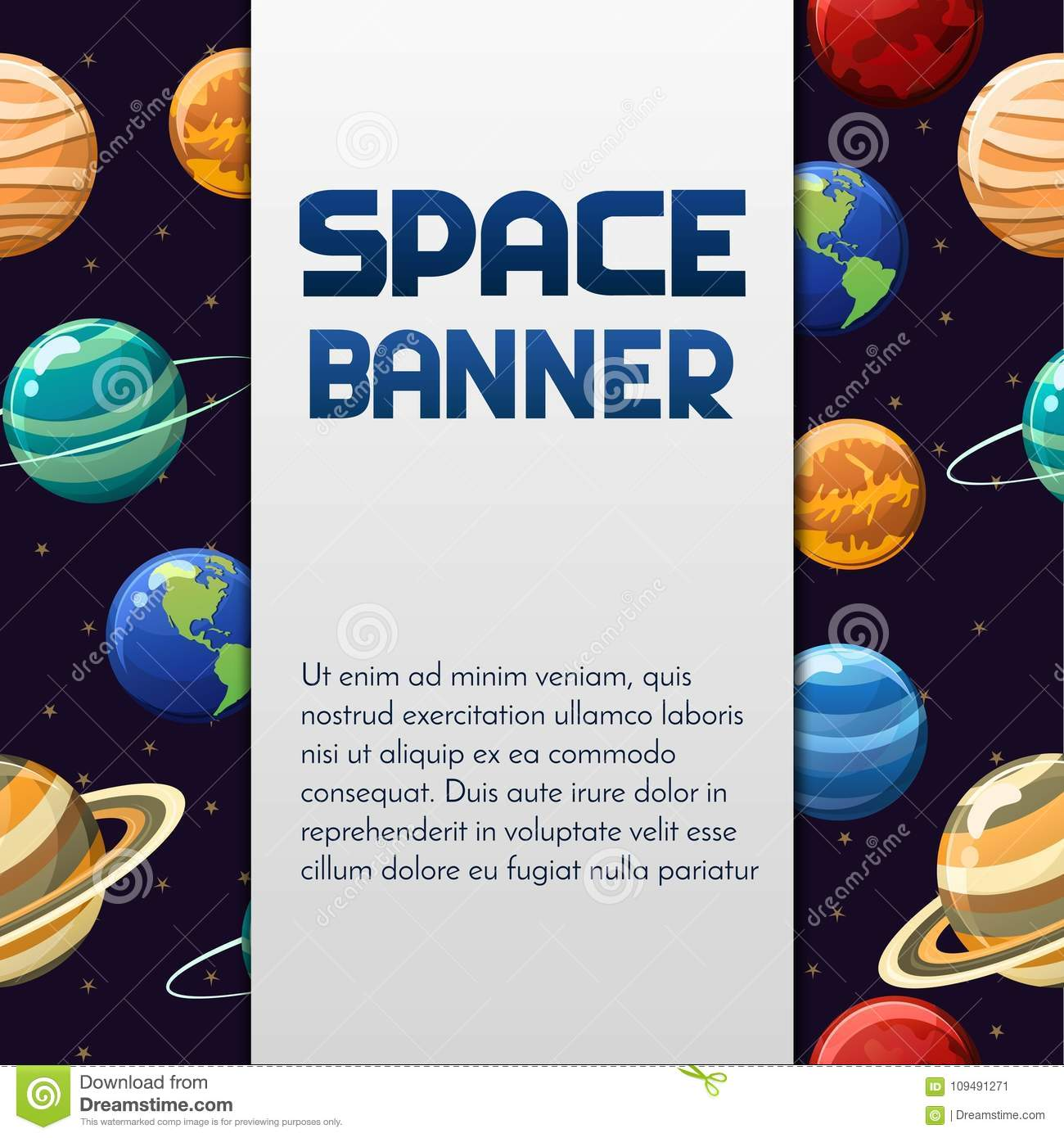 Space Vector Banner Design With Planets And Label For Text.Perfect ...