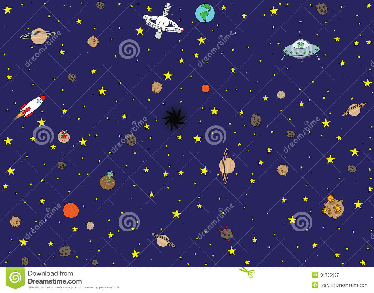 Space Wallpaper Stock Vector Image Of Station Meteor
