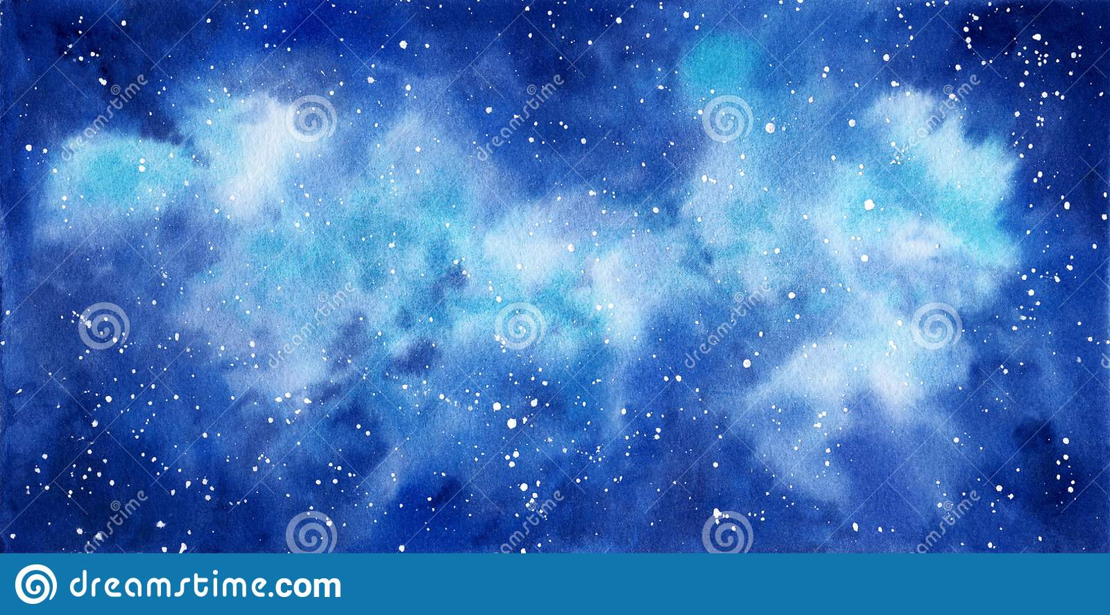 Space watercolor hand painted background. Abstract galaxy painting.