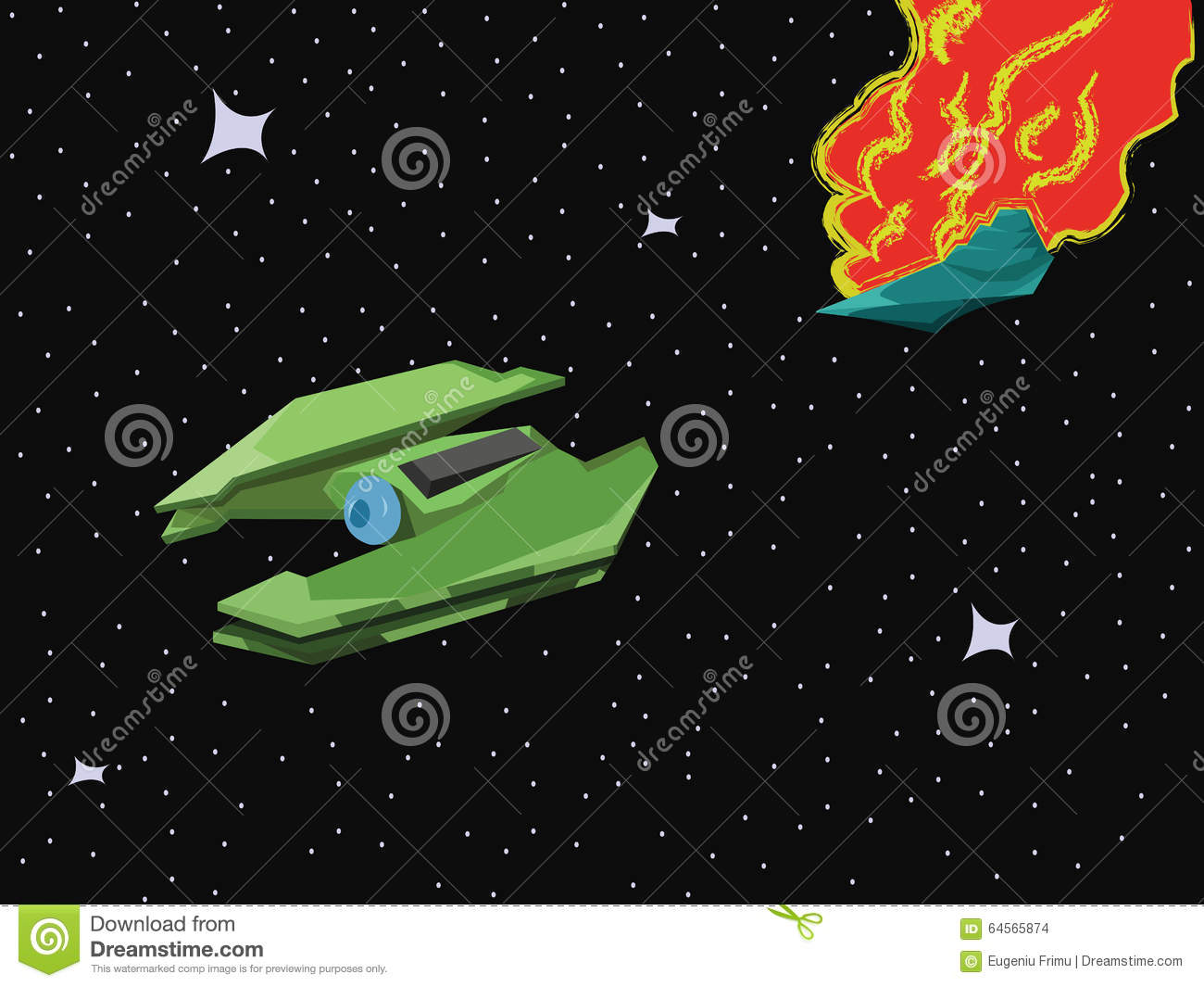 Spacecraft Space Blast Stock Vector Image 64565874