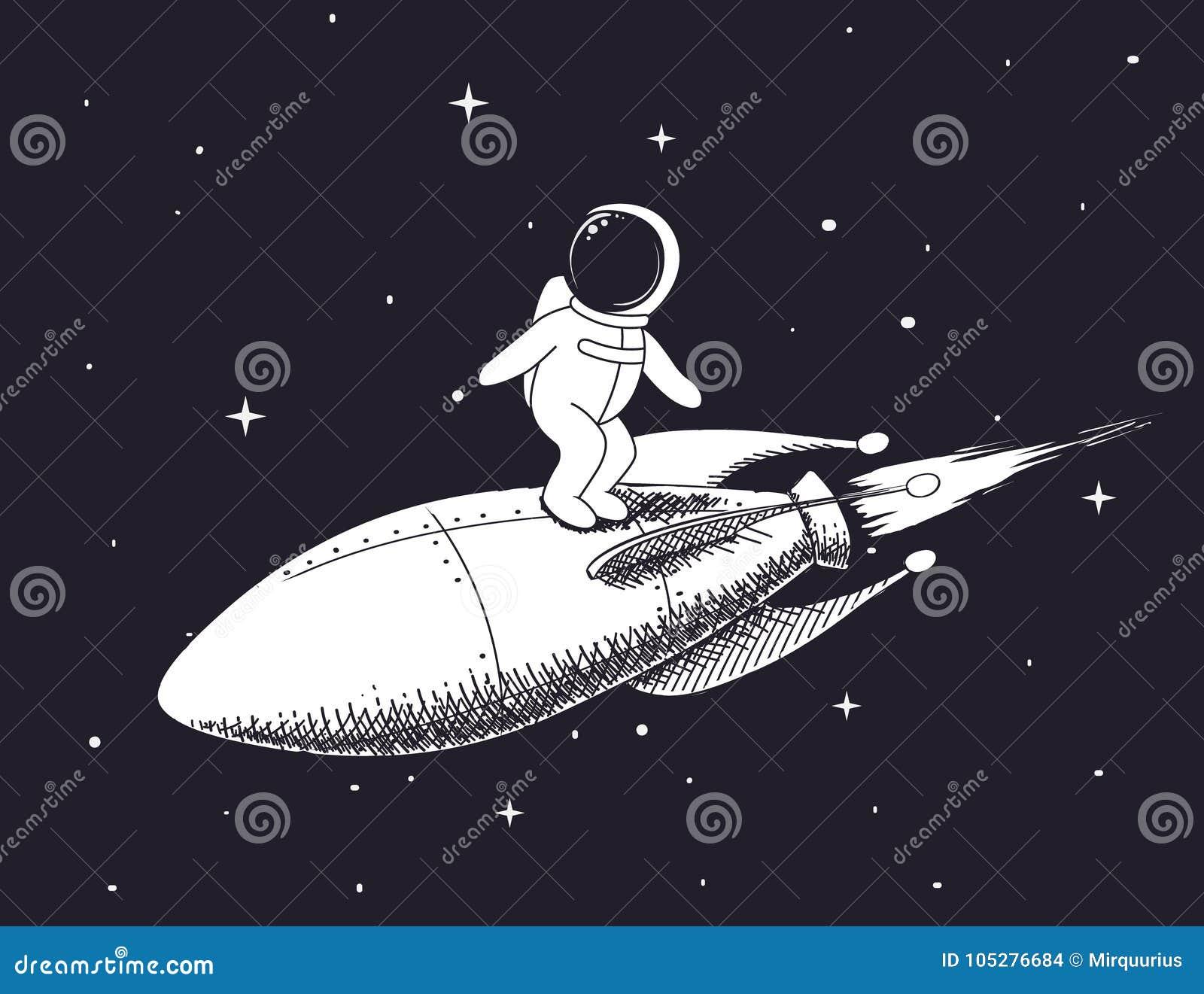 Spaceman flies on rocket