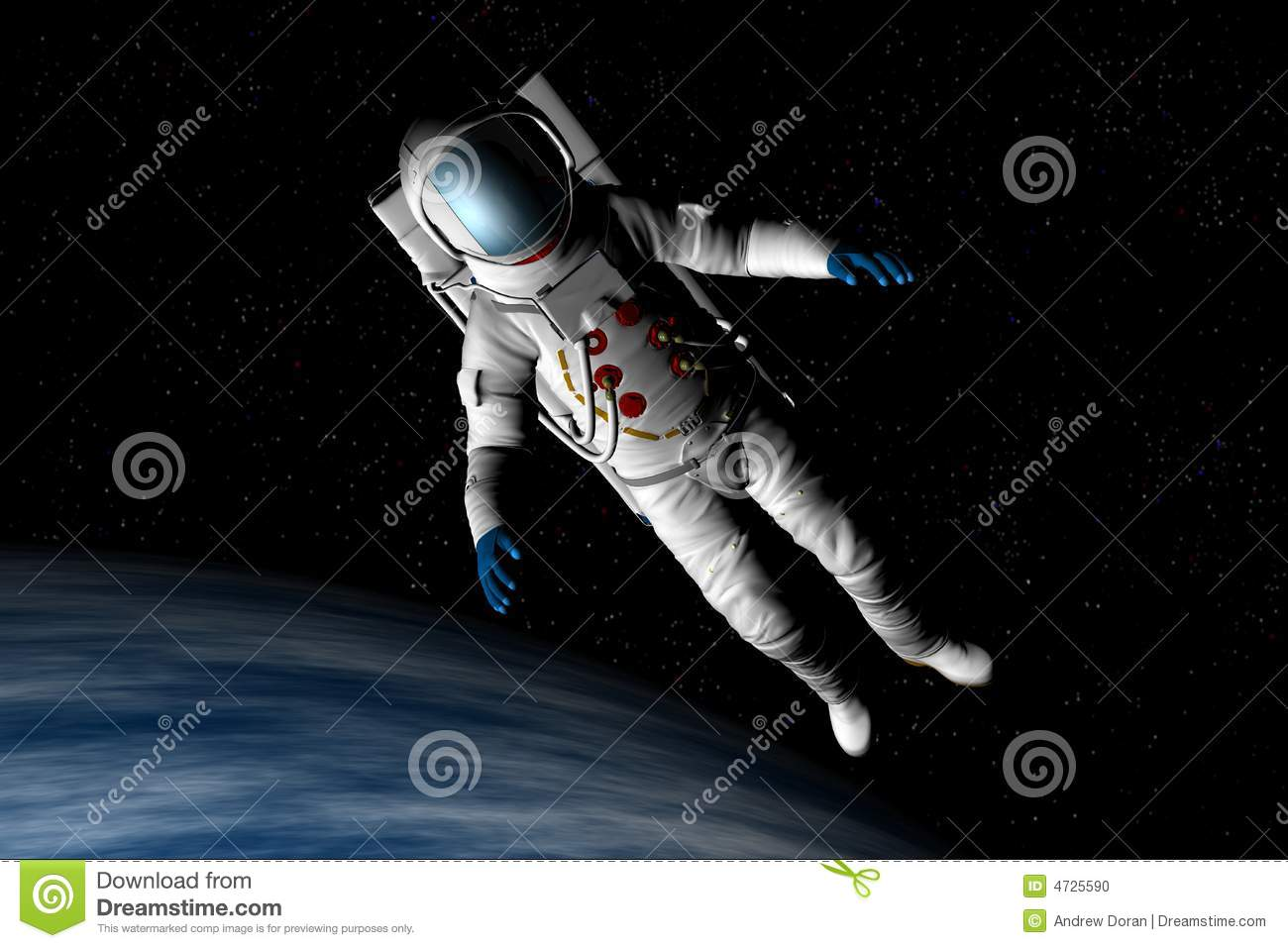 Spaceman Floating Stock Photo
