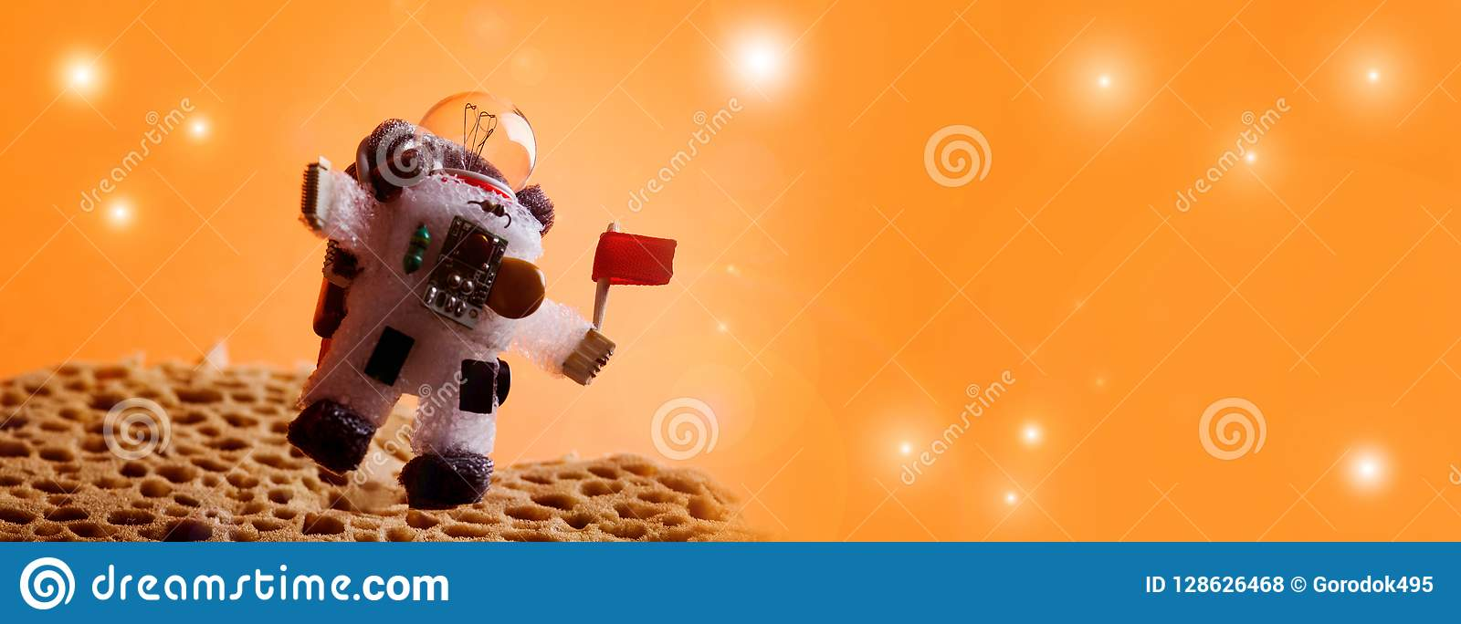Spaceman floating stratosphere, orange planet sky stars background. Light bulb character dressed in spacesuit astronaut